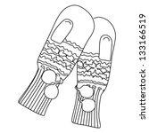 sweet gloves with fluffy balls | Shutterstock .eps vector #133166519