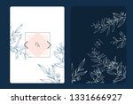 wedding invitation  floral... | Shutterstock .eps vector #1331666927