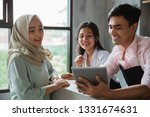 a hijab woman order food and...   Shutterstock . vector #1331674631