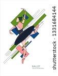 ballerina in geometrical style. ... | Shutterstock .eps vector #1331684144