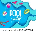 pool party poster with... | Shutterstock .eps vector #1331687804
