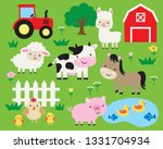 cute farm animals vector... | Shutterstock .eps vector #1331704934