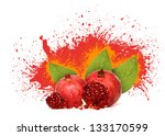 juicy pomegranates with leaves. | Shutterstock . vector #133170599