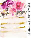greeting card with watercolor... | Shutterstock . vector #1331721524