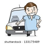 man with delivery car | Shutterstock .eps vector #133175489