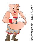 overweight half man half pig... | Shutterstock .eps vector #133176254