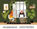 co working space interior with... | Shutterstock .eps vector #1331765501