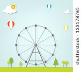 landscape with a ferris wheel - stock vector