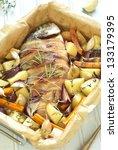 dorado baked in bacon with...