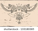 old school tattoo black. vector ... | Shutterstock .eps vector #133180385