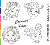 coloring page. young girl... | Shutterstock .eps vector #1331863724