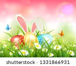 easter theme with bunny ears... | Shutterstock . vector #1331866931