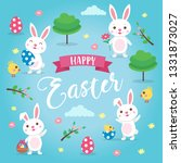 happy easter background with... | Shutterstock . vector #1331873027