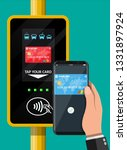 hand with smartphone and bank... | Shutterstock .eps vector #1331897924