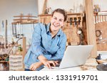 happy young woman as carpenter... | Shutterstock . vector #1331919701