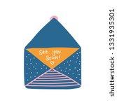 opened retro blue mail envelope ... | Shutterstock .eps vector #1331935301