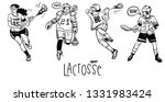 lacrosse players in action set. ... | Shutterstock .eps vector #1331983424