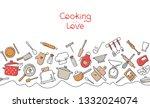 cooking flat horizontal...   Shutterstock .eps vector #1332024074