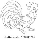 animal,bird,black and white,black-and-white,cartoon,cartooning,cartoony,chicken,clip art,clip-art,clipart,cock,cock-a-doodle-doo,coloring book,coloring page