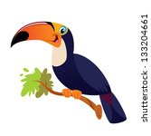 a happy toucan on a branch... | Shutterstock .eps vector #133204661