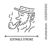 leprechaun with pipe linear... | Shutterstock .eps vector #1332053201