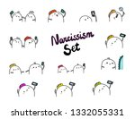 narcissism set hand drawn... | Shutterstock .eps vector #1332055331