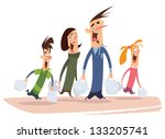 a happy cartoon family with mom ... | Shutterstock .eps vector #133205741