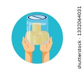 hands and saving jar with money ... | Shutterstock .eps vector #1332064031