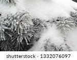fir branches in hoarfrost. snow ... | Shutterstock . vector #1332076097