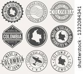 colombia set of stamps. travel... | Shutterstock .eps vector #1332084341
