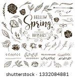 hello spring floral design...   Shutterstock .eps vector #1332084881