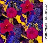 tropical birds seamless pattern.... | Shutterstock . vector #1332097664