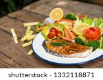 salmon fillets. grilled salmon  ... | Shutterstock . vector #1332118871