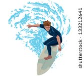surfer riding a big wave | Shutterstock .eps vector #133212641
