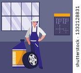 mechanic worker with oil gallon ... | Shutterstock .eps vector #1332128831