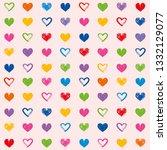 love theme hearts seamless... | Shutterstock . vector #1332129077