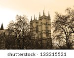 westminster abbey in sepia... | Shutterstock . vector #133215521