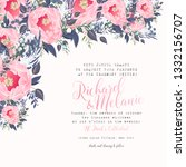 floral wedding invitation pink... | Shutterstock .eps vector #1332156707