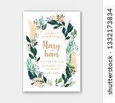 eucalyptus wedding invitation... | Shutterstock .eps vector #1332173834
