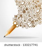 creative splash pencil with... | Shutterstock .eps vector #133217741