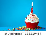 Stock photo birthday cupcake 133219457