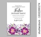 romantic violet peony bouquet... | Shutterstock .eps vector #1332200174