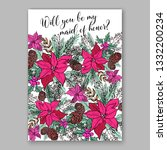 romantic pink peony bouquet... | Shutterstock .eps vector #1332200234