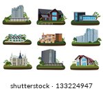 nine buildings on transparent... | Shutterstock .eps vector #133224947