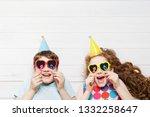 happy child friend in carnival...   Shutterstock . vector #1332258647