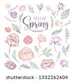 hello spring floral design... | Shutterstock .eps vector #1332262604