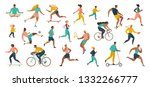 group of people performing... | Shutterstock .eps vector #1332266777