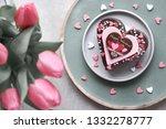 valentine heart cake with... | Shutterstock . vector #1332278777