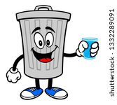 trash can mascot with a glass... | Shutterstock .eps vector #1332289091