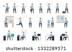 smiling businessman working set ... | Shutterstock . vector #1332289571